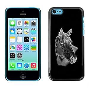 Be Good Phone Accessory // Dura Cáscara cubierta Protectora Caso Carcasa Funda de Protección para Apple Iphone 5C // Black & White Horse