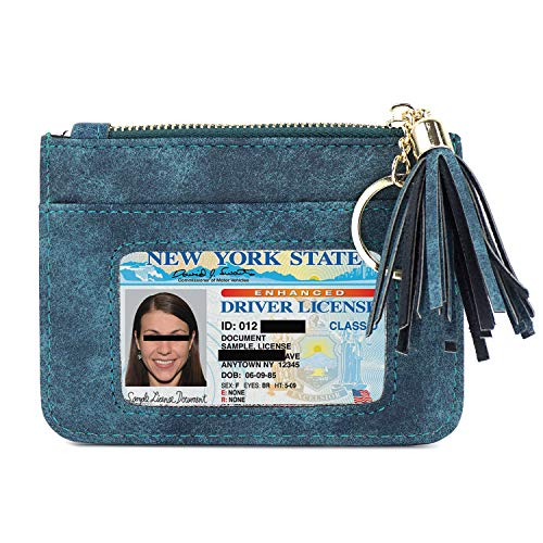 (Womens Coin Purse Pouch Change Wallet with ID Window & Key Ring)
