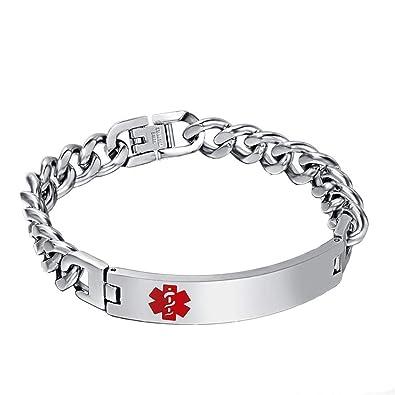... médica etiqueta de identificación ID Arc cubano cadena enlace de acero inoxidable pulsera mano cadena regalo para hombres mujeres: Amazon.es: Joyería