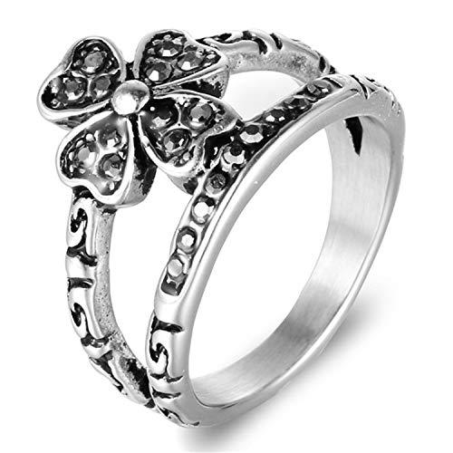 Epinki Ring for Men Titanium Ring Flower Clover Ring Men Ring with Cubic Zirconia Silver Size 12 Men ()