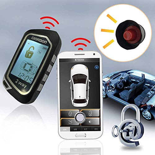 2 Way LCD Car Alarm Security System with Remote Start System Mobile Phone and Remote Key Control 1600 feet Range Plug N Play for Car