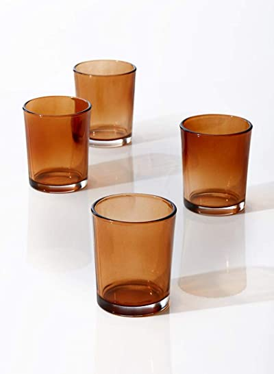 Serene Spaces Living Amber Glass Votive Candle Holder