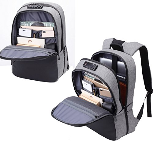 BISON DENIM Slim Business Laptop Backpacks Anti thief Tear/Water Resistant Travel Bag Backpacks fits up to 15 15.6 Inch Computer Laptops Backpack In Grey by BISON DENIM (Image #4)