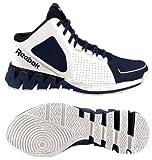 Men's Reebok ZigKick Hoops Basketball Shoe Zig Sole Mid White Navy Blue and Black (9)