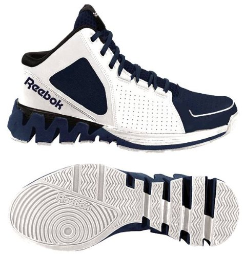 Reebok ZigKick Hoops Mens Basketball Shoes 10.5 White/Navy/Black