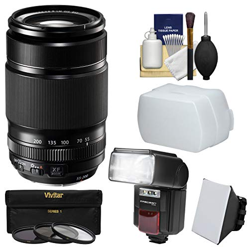 Fujifilm 55-200mm f/3.5-4.8 XF R LM OIS Zoom Lens + Flash + Soft Box + Diffuser + 3 Filters Kit for X-A2, X-E2s, X-M1, X-T1, X-T10, X-Pro2 Camera