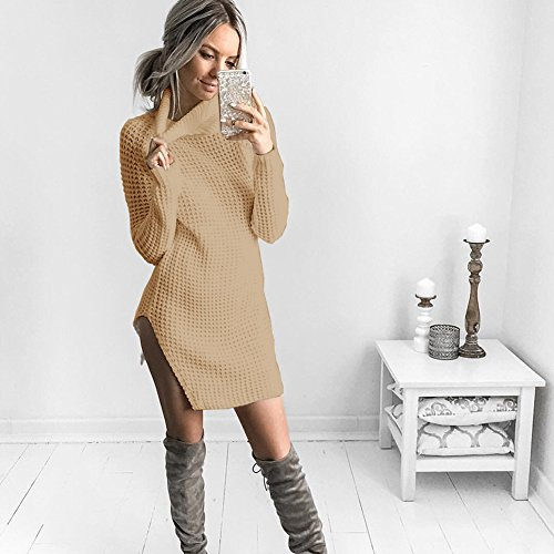 Women Dress Catnew Sleeve Color Long Split Khaki Winter Turtle Fashion Sweater Solid Neck qZCdCR