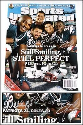 Tedy Bruschi Mike Vrabel Colvin signed N.E. Patriots Sports Illustrated 16x20