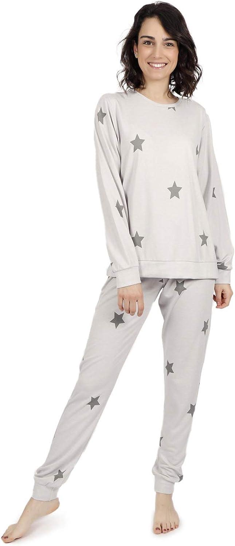 ADMAS Pijama Manga Larga California Stars para Mujer: Amazon ...