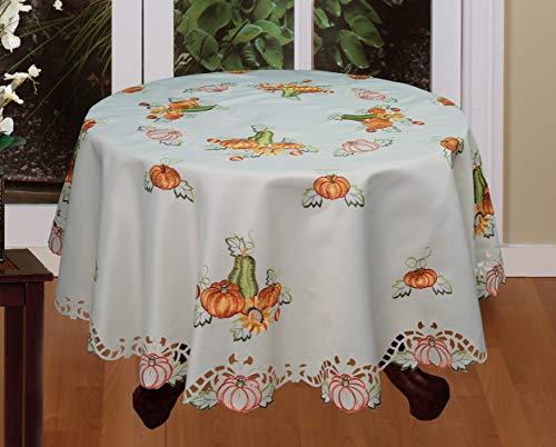 Creative Linens Fall Autumn Harvest Thanksgiving Embroidered Cutwork Pumpkin Sunflower Tablecloth 88