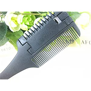 1 Set (2 Pcs/Set) Comb Hairbrush Hair Cut Professional Trimmer Cutting Slim Haircuts Blade Clipper Black Combo Pocket Long Round Handle Holder Dazzling Popular Beard Brush Natural Women Travel Kit