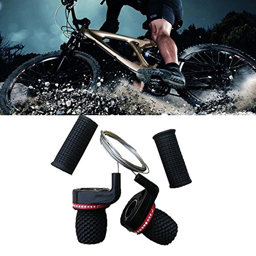 Ownsig 1 Pair Mountain Bike Derailleur Speed Shifter Handle Twist Grip Gear Set Twister Cable MTB Bicycle Cycling 18/21 Speed