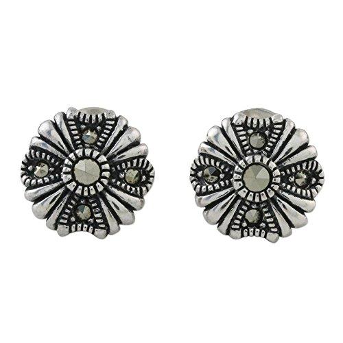 NOVICA Marcasite .925 Sterling Silver Stud Earrings, Antique Flower'
