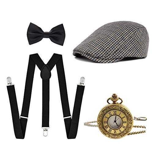 Ziyoot Men's 1920s Accessories Gatsby Gangster Costume Set Gangster Beret Y-Back -