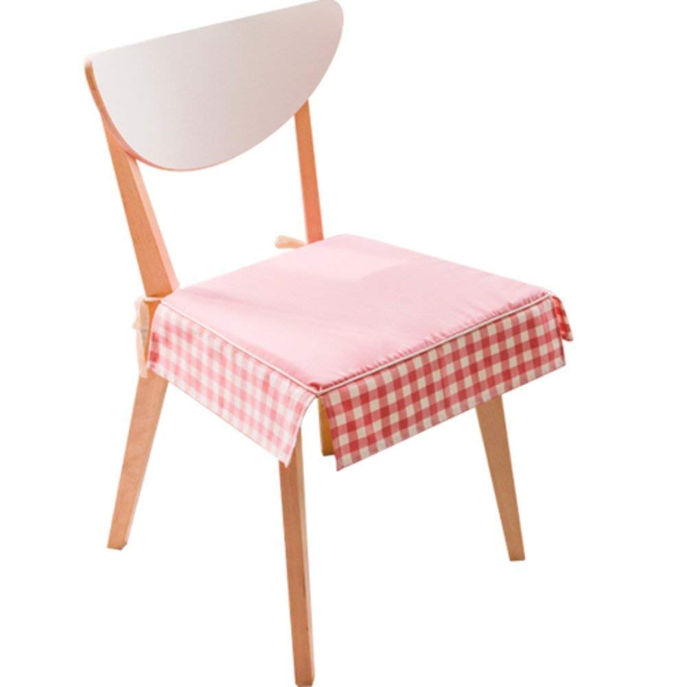 Cojín de asiento de tela escocesa rosa y hoja cojín de hoja y de loto de cojín de silla Silla de comedor Silla europea de tela espesada transpirable de almohadillas para computadora-B 42X39Cm (17X15Cm) cf8a0c