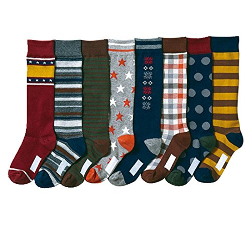 Boys' Soft Stars and Snow Stocking Youth Pattern Knee High Cotton Socks 8 Pairs