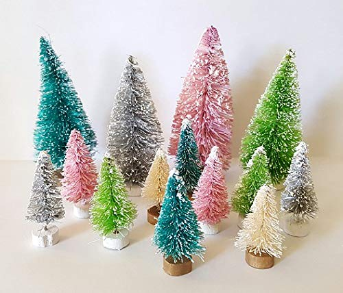 (Very Vintage N More LOT 14 Special Edition Mini Forest Mix Miniature Sisal Bottle Brush Snow Flocked Christmas Trees Snow Village)