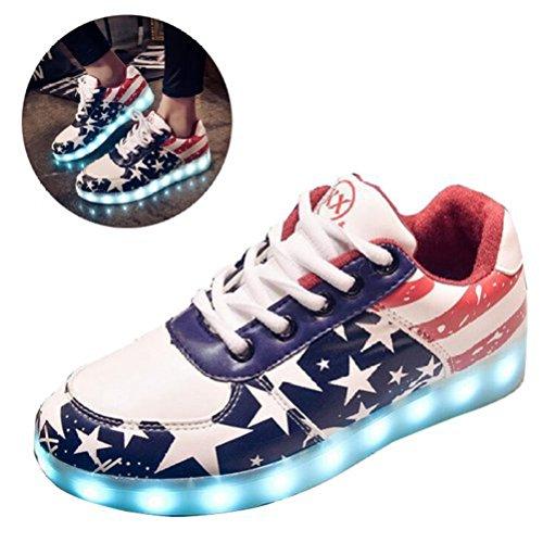 [Present:kleines Handtuch]JUNGLEST® Damen LED-Licht Leuchten Sneakers Stern Fluorescence Sp Mehrfarbig
