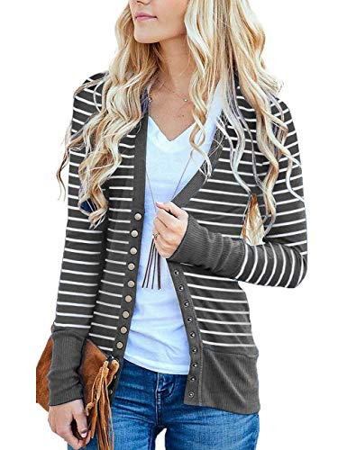 MEROKEETY Women's Long Sleeve Striped Snap Button Down Contrast Color V Neck Cardigans (Sleeve Tank V-neck Long Top)