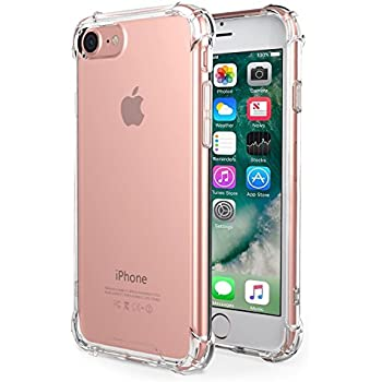 iPhone 7 Case,iPhone 8 Case, Amuoc Crystal Clear Cover Case [Shock Absorption] with Transparent Hard Plastic Back Plate and Soft TPU Gel Bumper (Clear)