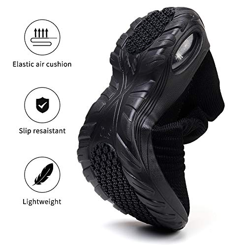 STQ Women¡¯s Slip On Walking Shoes Lightweight Mesh Casual Running Jogging Sneakers with Air Cushion Sole All Black, 7