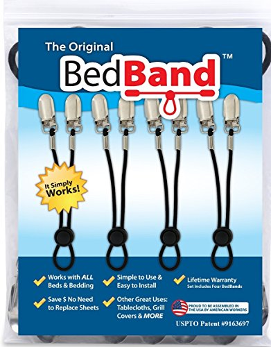 World Twin Hugger - Bed Band Not Made in China. 100% USA Worker Assembled.. Bed Sheet Holder, Gripper, Suspender and Strap. Smooth any Sheets on any Bed. Sleep Better. Patented.