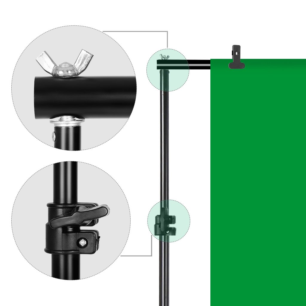 CRAPHY Portable Photo Studio 10 x 6.5ft Background Stand Kit Backdrop Support System with Muslin Cotton Background (Green Black White, 9ft x 6ft) and Carrying Bag by CRAPHY (Image #6)