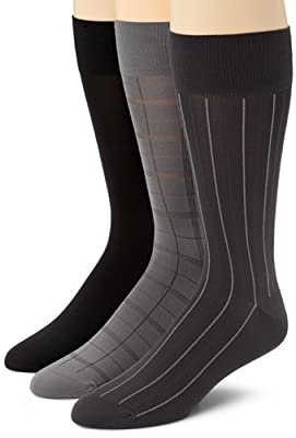 Calvin Klein Men's 3 Pack Microfiber Windowpane Socks