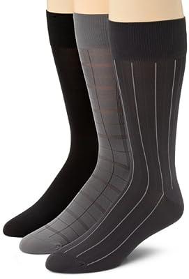 Calvin Klein Men's 3 Pack Microfiber Windowpane Socks