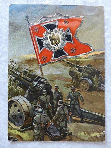 Quality Prints - Laminated 24x32 Vibrant Durable Photo Poster - German WW2 Postcard with Artillery Flag - Feldpostkarte Postkarte Wehrmacht Artillerie Standarte