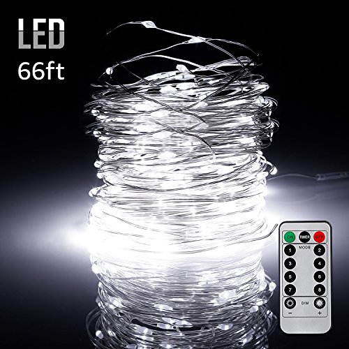66ft 200LEDs Fairy String Lights Dimmable with Remote Control, Waterproof Copper Wire Firefly Lights for Christmas Bedroom Wedding Garden Patio Festival Party Decor, UL-listed USB Adapter, - Cool Skin Tone Warm Or