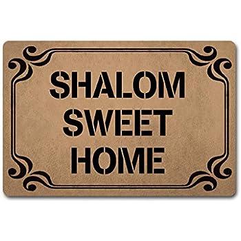 ZQH IndoorDoor Mats Shalom Sweet Home Doormat Monogram Welcome for Entrance Way (23.6 X 15.7 in) Non-Woven Fabric Top with a Anti-Slip Rubber Back. Door Rugs Personalized Doormat