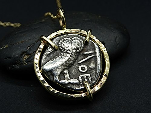 Owl of Athena coin pendant gold, ancient Owl of Athens coin necklace, real Greek coin pendant 14k gold owl pendant, owl necklace for her