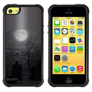 "Hypernova Defender Series TPU protection Cas Case Coque pour Apple iPhone 5C [Luna fantasmagórica de Halloween del cementerio""]"