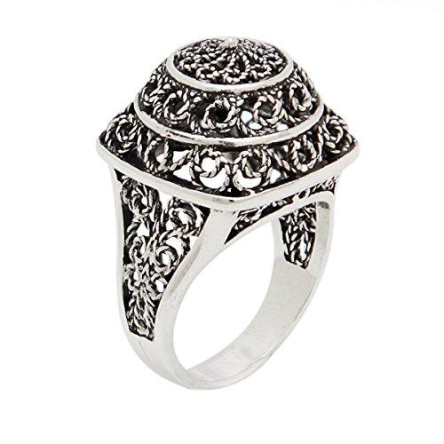 925 Sterling Silver Artisan Lace Filigree Square Dome Ring (Sterling Silver Lace Filigree)