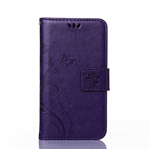 Price comparison product image UNEXTATI Case for Galaxy S6,  [Kickstand Feature] Flip Folio Leather Wallet Case with ID and Credit Card Pockets for Samsung Galaxy S6 (Purple)