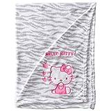 Hello Kitty Baby-Girls Newborn Printed Plush Blanket with Zebra Print