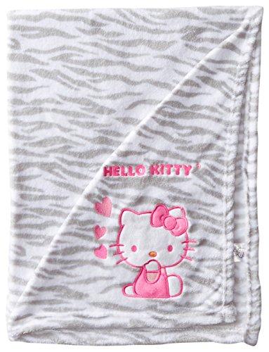 Hello Kitty Baby-Girls Newborn Printed Plush Blanket W Novelty Applique Zebra Print, White, One/Small