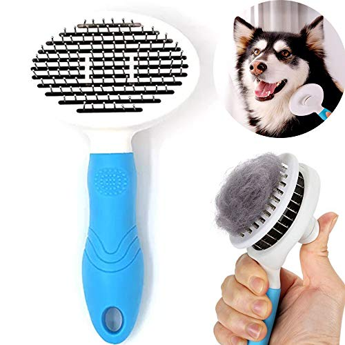 (LINGXI Dog Self Cleaning Slicker Brush,Pet Grooming Brush,Steel Comb, for Dogs and Cats with Short or Long Hair)