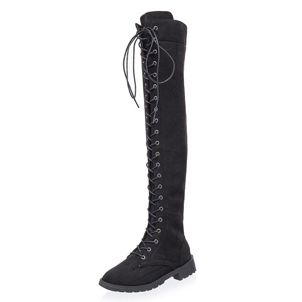 AOJIAN Women Cross-Tied Platform Shoes High Boots Over The Knee Boots Flat Heel Boots (US:6.5, Black)