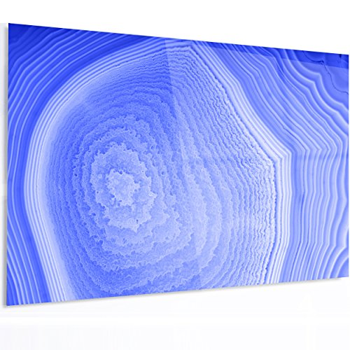 Designart MT14365-48-30 Dark Blue Agate Structure - Modern Abstract Extra Large Glossy Metal Wall Art - 48x30,Blue,48x30 by Design Art