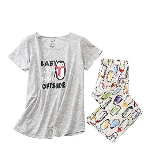 Women's Pajama Sets Capri Pants with Short Tops Cotton Sleepwear Ladies Sleep Sets - Classic Pajama Cotton