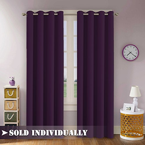 Plum Flamingo (FlamingoP Spring Thermal Insulated Solid Grommet Blackout Curtains / Drapes for Living room, One Panel 96 Inch by 52 Inch -Indigo Plum)