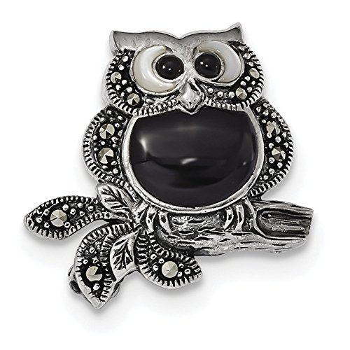 Sterling Silver Antiqued Marcasite/Mother of Pearl/Black Agate Owl Pin (Marcasite Owl Pin)