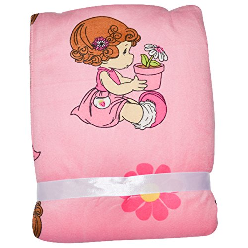 Precious Moments Potted Flowers Microplush Blanket - pink, one size