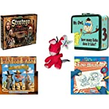 Children's Fun & Educational Gift Bundle - Ages 6-12 [5 Piece] - The Lord of The Rings Stratego Game - Mr. Owl How Many Licks Does It Take Tootsie Pop Metal Lunchbox - Neopets Red Blumaroo Plush To