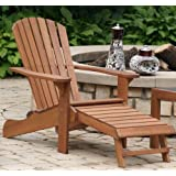 Outdoor Interiors OILCD3111 Eucalyptus Adirondack Chair with Drink Holder& Built In Ottoman