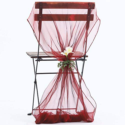 ZZLT 50PCS Organza Chair Sashes for Rustic Wedding Decorations,Sunflower Wedding Decorations Party Decoration, Banquet Decoration,Beach Wedding Decorations (Wine Red)