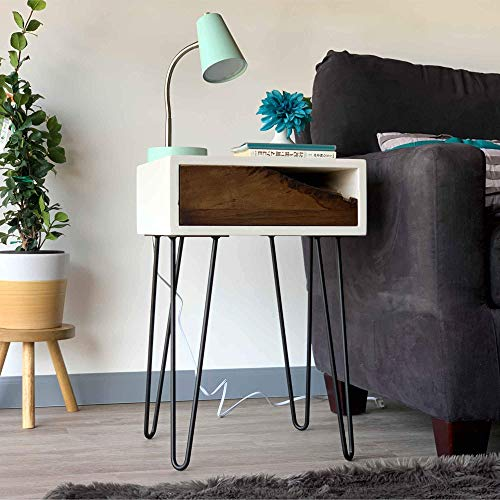 Pair of two bedside tables Personalized listing reserved for Megan nightstands mid century modern style with steel hairpin legs