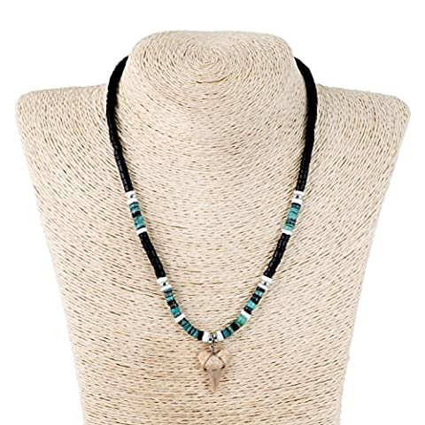 Shark Tooth Pendant on Black Coconut Wood Beads Necklace with Green Heishi and Puka Shells (1S Shark - Coconut Shell Pendant
